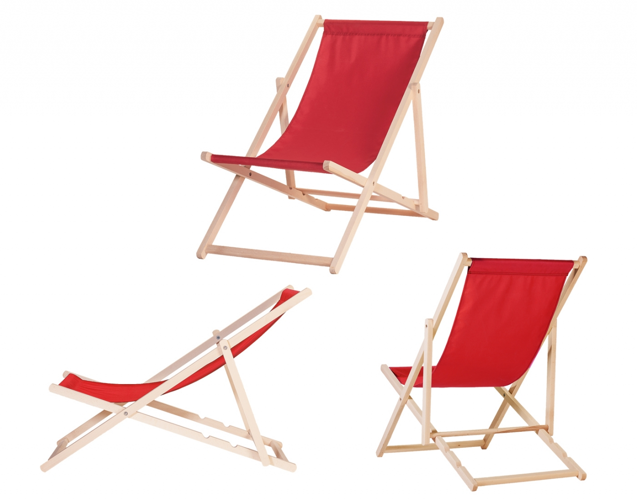 Wooden Deck Chair CLASSIC RED